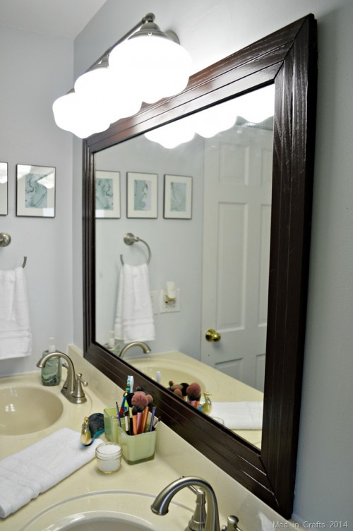 Stylish DIY Framed Bathroom Mirror Shelterness