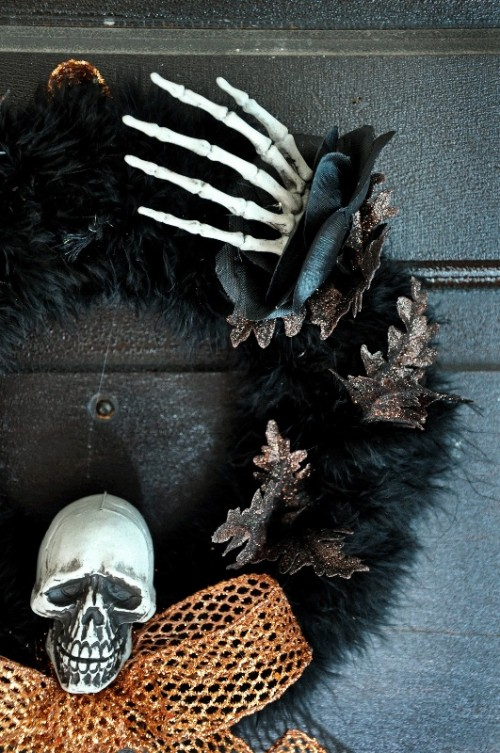 Stylish Halloween Wreath With A Skull And A Hand