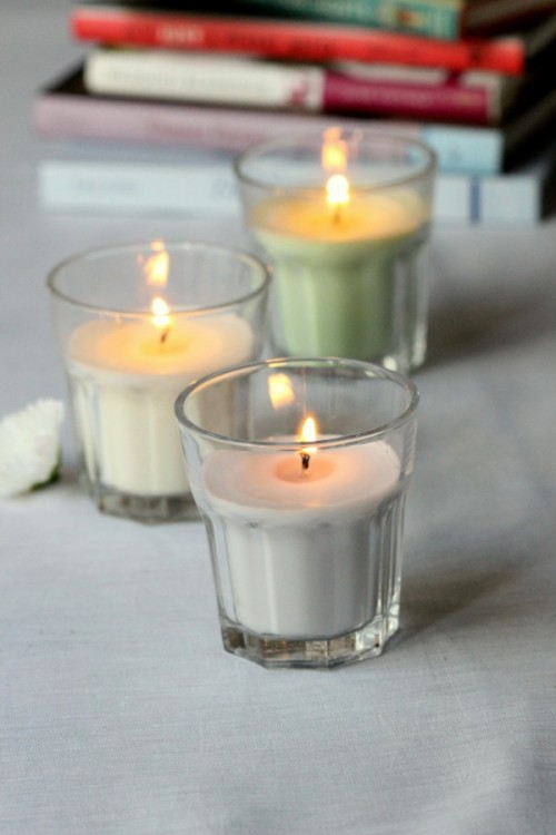 pastel glass candles