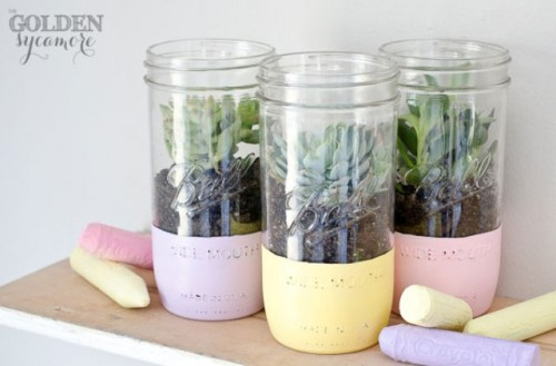 pastel mason jar planters (via shelterness)
