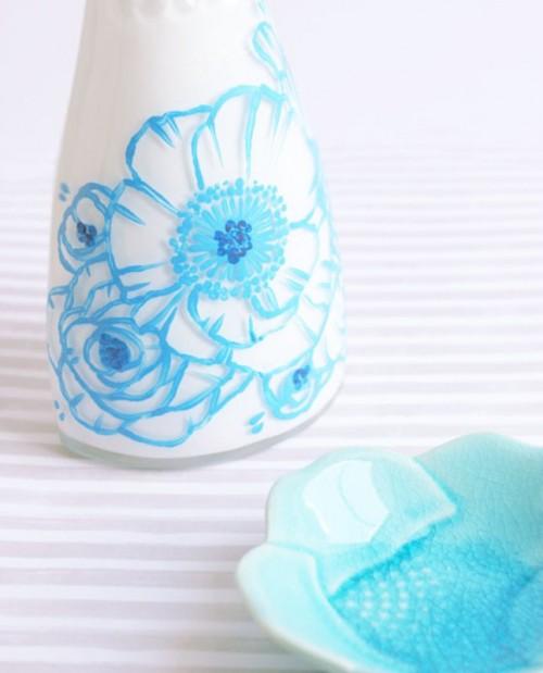 pastel blue bottles