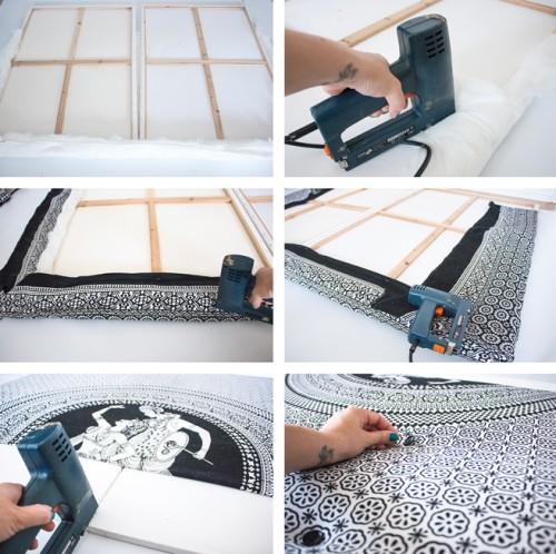 Super easy diy canvas headboard shelterness for Easy diy headboard cheap