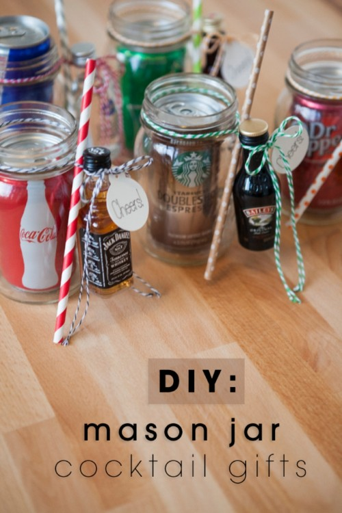 mason jar cocktail gifts via somethingturquoise - Easy Christmas Gifts