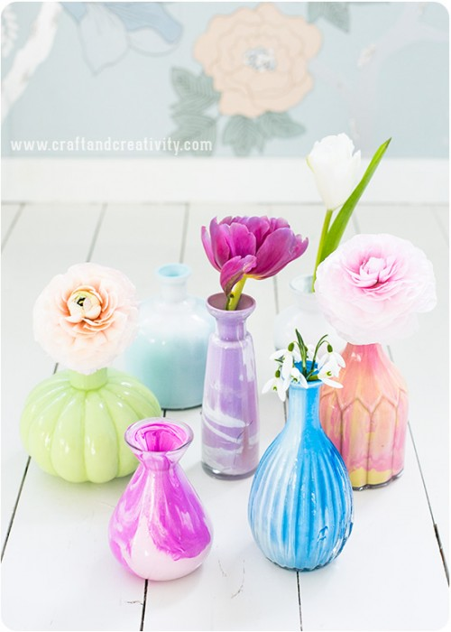 marble glass vases (via craftandcreativity)