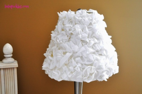 11 sweet diy shabby chic lamps and lights shelterness rosette lampshade via shelterness aloadofball Gallery