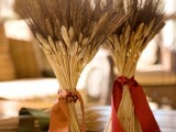 wheat bundles with silk ribbons are lovely fall centerpieces that you can make last minute and they will last long