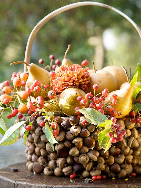 an acorn covered basket with berries, pears and blooms is a bold and creative harvest centerpiece for Thanksgiving