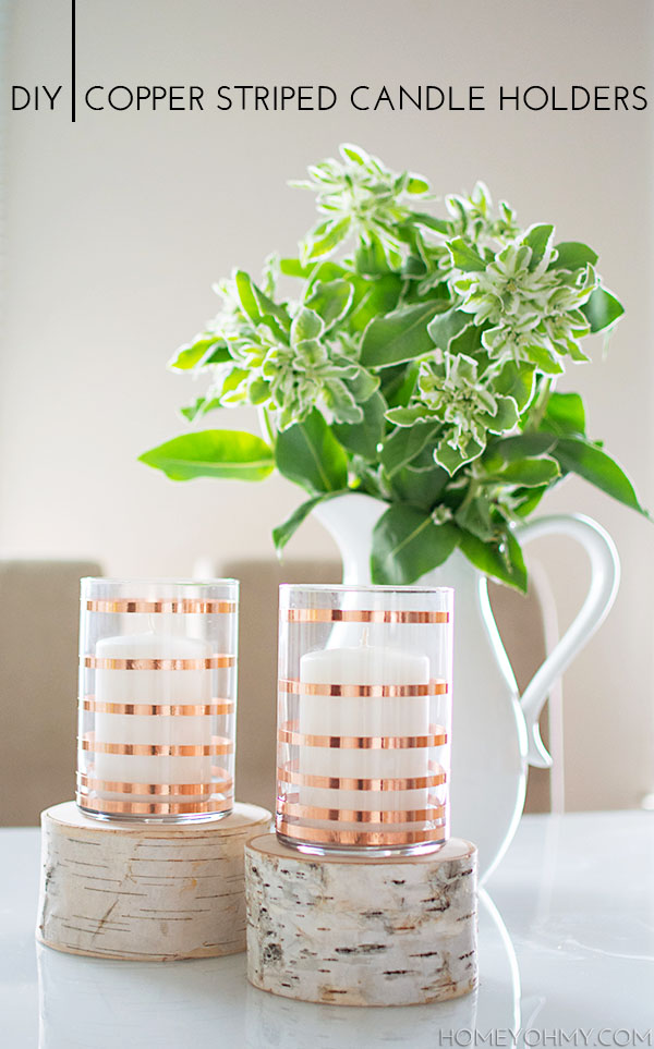 striped candle holders