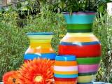 striped vases