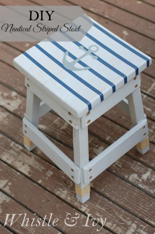 nautical striped stool (via whistleandivy)