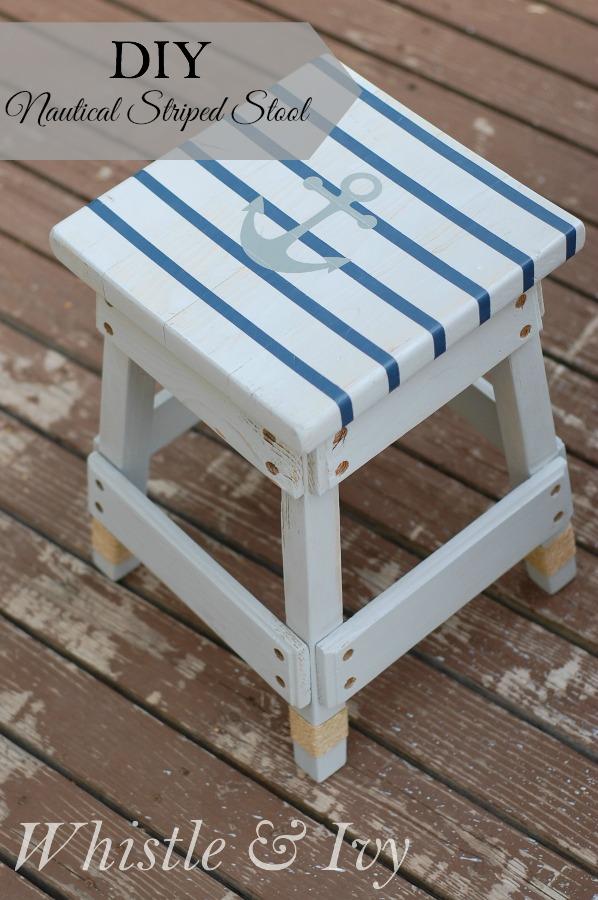 nautical striped stool