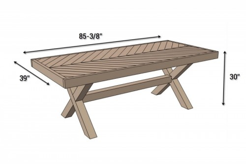 Traditional DIY X Leg Herringbone Dining Table