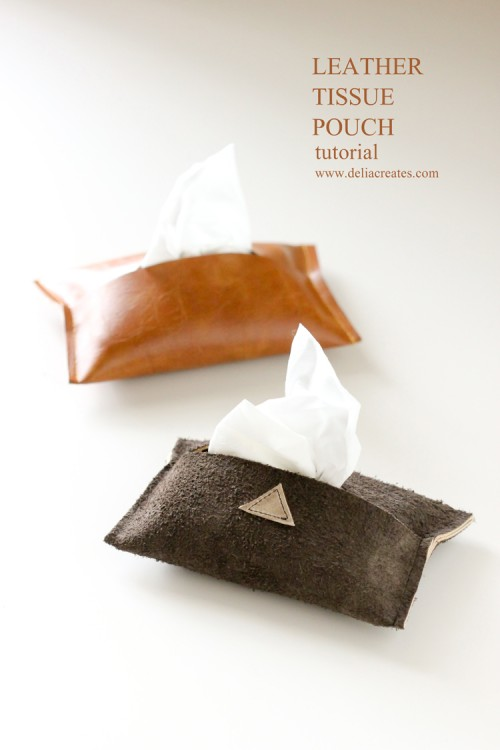 leather tissue pouch (via deliacreates)