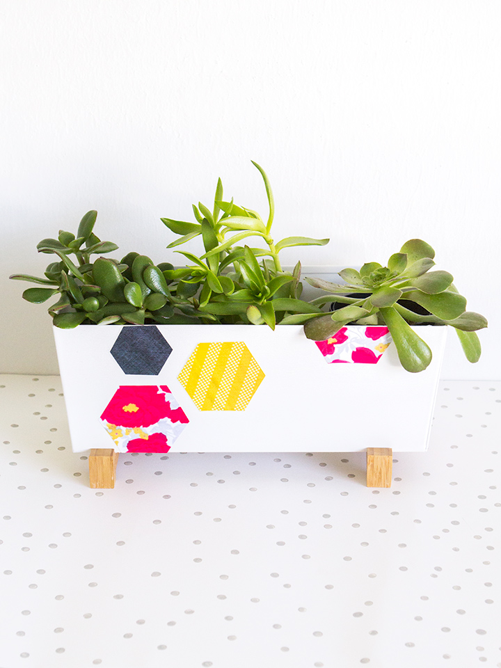 Picture Of trendy and bright diy geometric painted planter  1