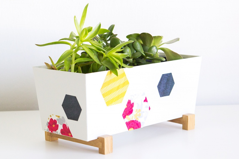 Picture Of trendy and bright diy geometric painted planter  4