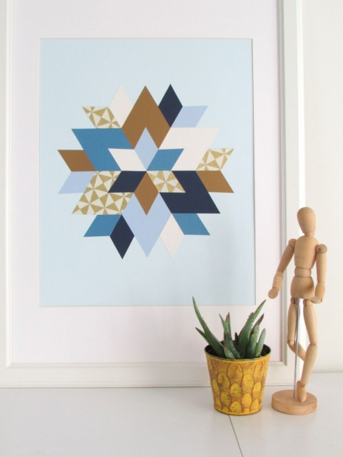 Trendy and colorful diy geometric wall art shelterness for Diy colorful wall art