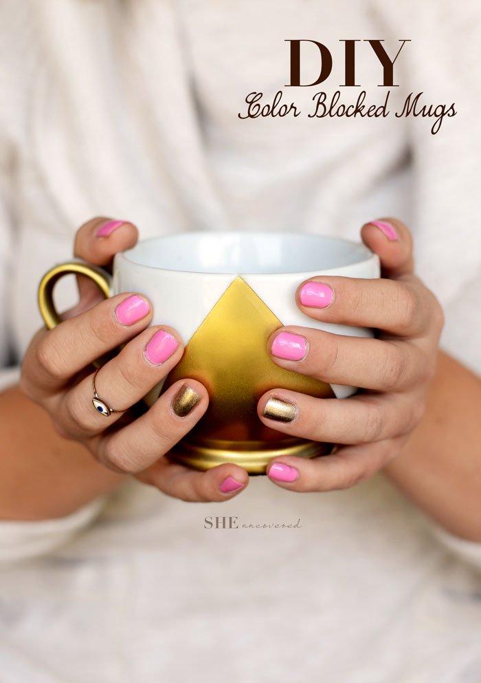 color blocked mugs