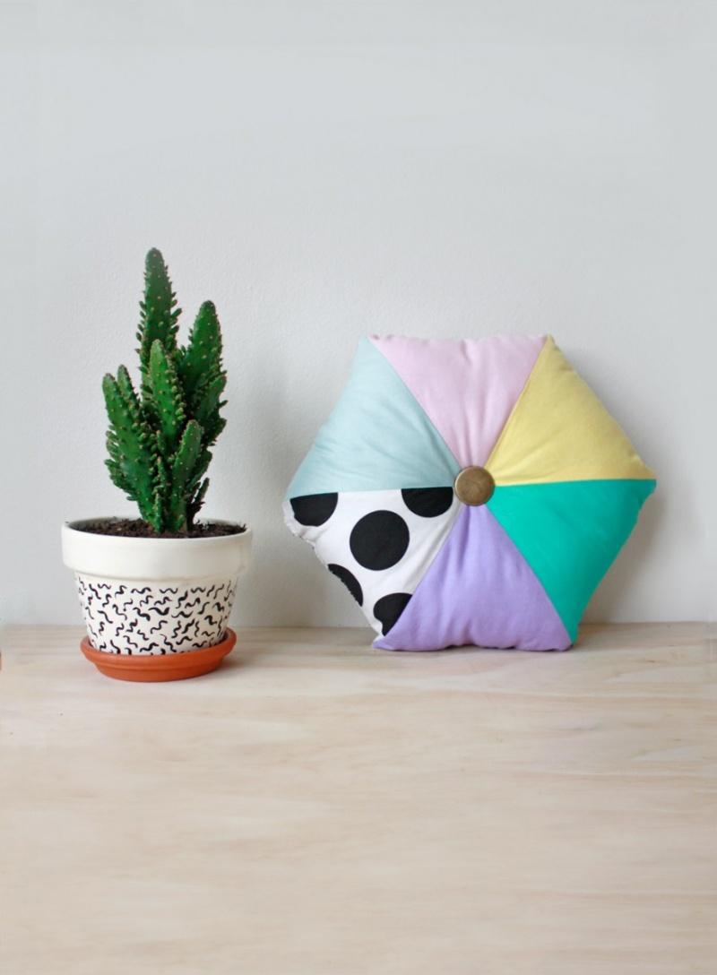 hexagon color block cushion