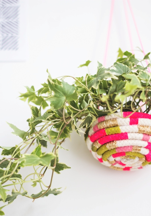 color blocked rope planter