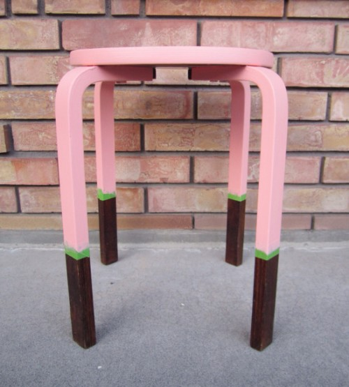 Trendy DIY Color Blocked Stool Or Side Table