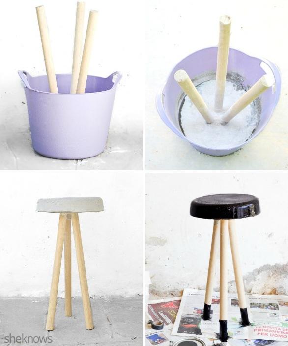 Picture Of trendy diy concrete stool in black  4