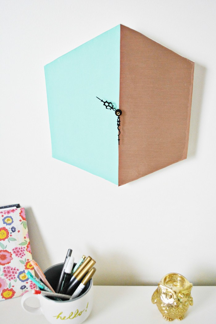 Picture Of trendy diy copper blocked clock  8