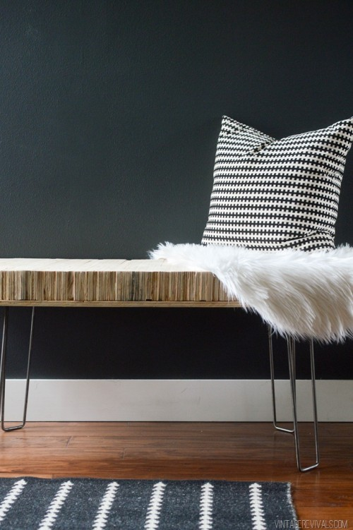 plywood bench with hairpin legs
