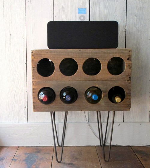 wine rack with hairpin legs (via shelterness)