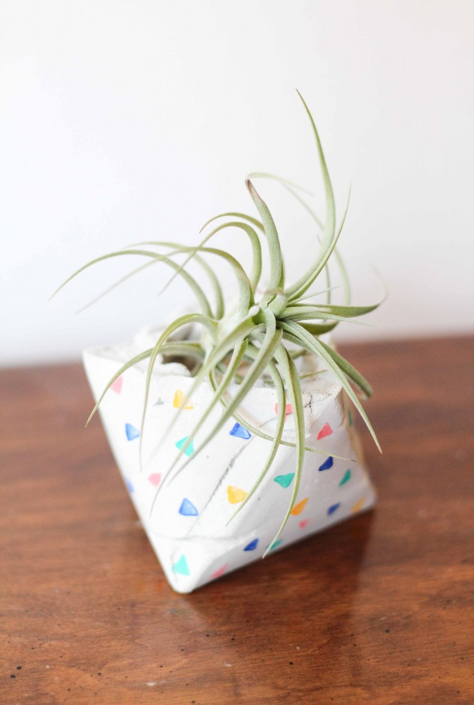 patterned geometric cement planter