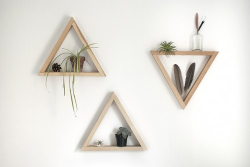 wooden triangle shelves (via themerrythought)