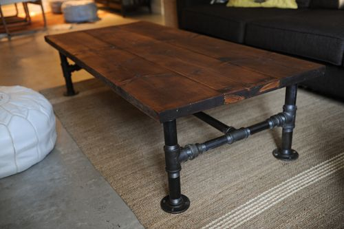 industrial coffee table with pipe legs via thelocker