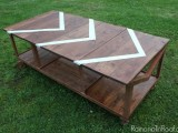 industrial coffee table with a pattern