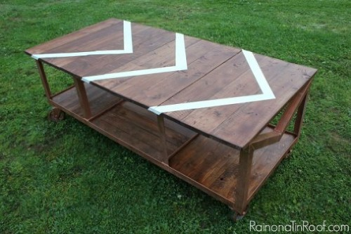 industrial coffee table with a pattern (via hometalk)