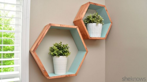 Trendy DIY Stained Hexagon Wall Shelves