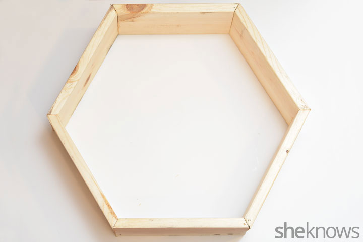 Picture Of trendy diy stained hexagon shelves  3