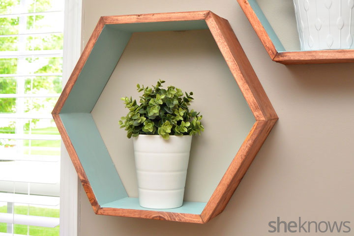Picture Of trendy diy stained hexagon shelves  7