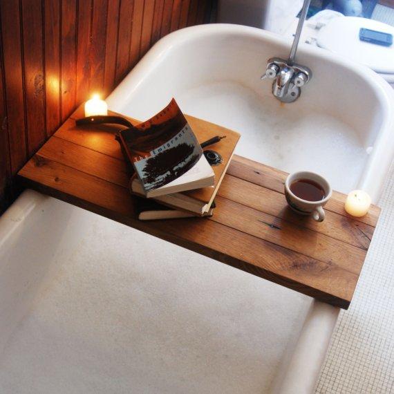 Tub Caddy Made Of Reclaimed Oak