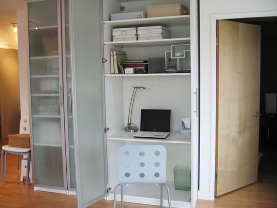 turn cabinet into a mini home office shelterness. Black Bedroom Furniture Sets. Home Design Ideas