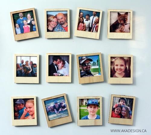 wooden Polaroid magnets (via akadesign)