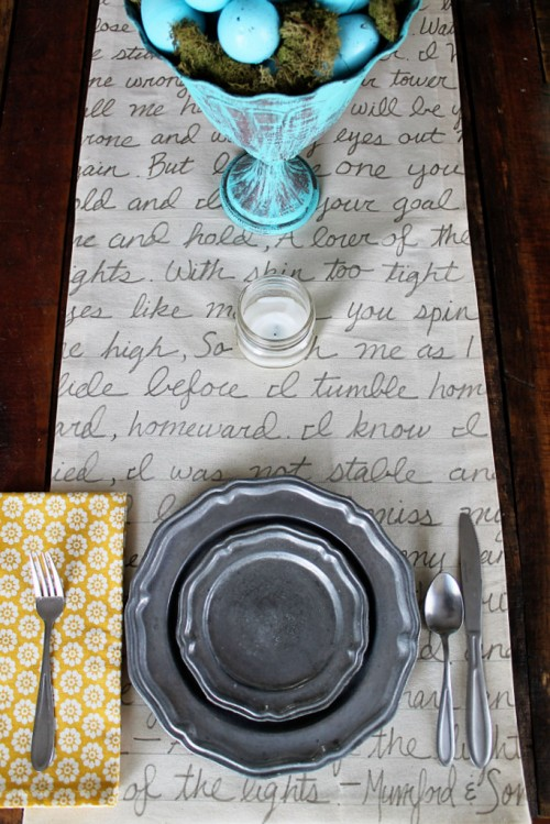 Unique DIY Handwritten Table Runner