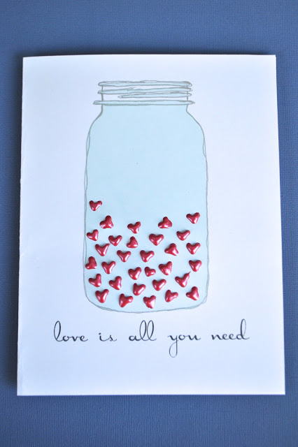mason jar Valentine card (via ilovetocreateblog)