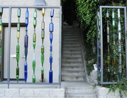 Unusual Fence Of Recycled Glass Bottles