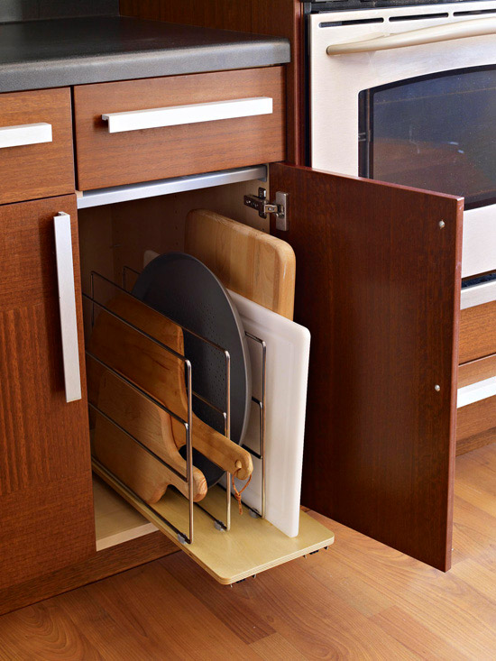 Upright Storage In A Cabinet