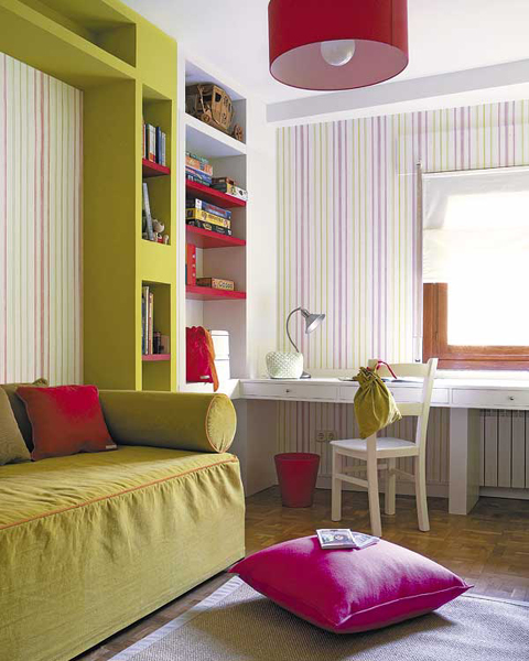 A kid's room is one of those rooms where you should be able to create additional seating space.