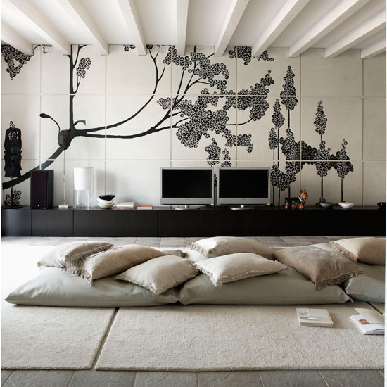 Picture Of Using Floor Pillows In Interior Decorating