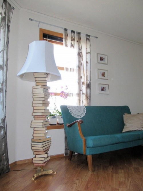 Using Old Books To Make A Floor Lamp