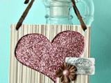 DIY glitter heart tag