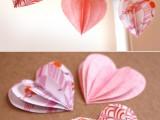 DIY 3D paper heart garland