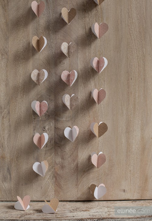 DIY pink heart garland