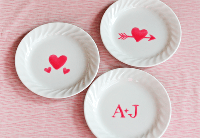 Valentine's dishes decorated with edible paint
